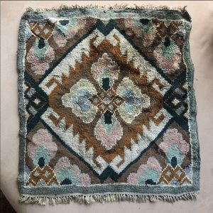 Vintage 1930's Chenille Square Woven Rug